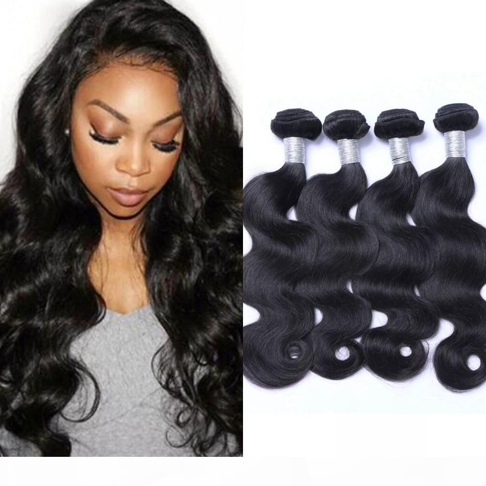 Перуанская волна тела человеческие волосы плетение пучка натуральный цвет 4 пакета не реми волосы 8-26 дюймов