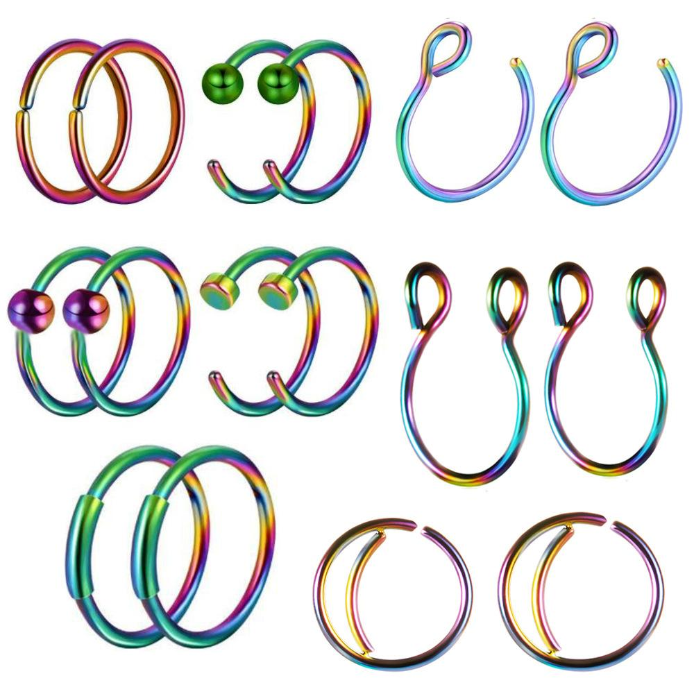 16 PCS Piercing Kit Tongue Nail Mixed Set Stainless Steel Lip Belly Eyebrow Fake Septum Nose Stud Navel Ring Jewelry Wholesale
