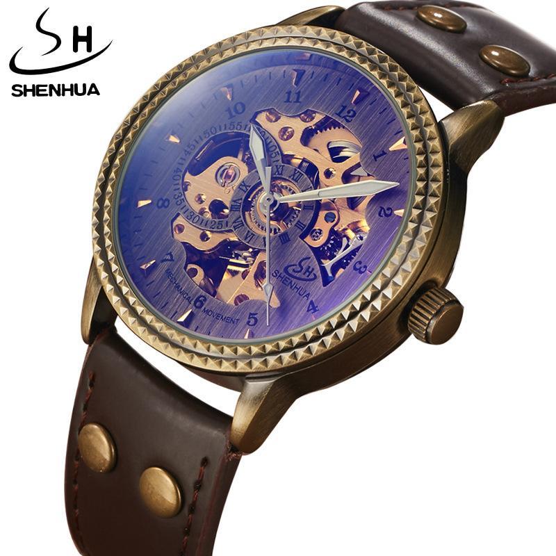 Shenhua мужская бронза арабская цифра светящиеся иглы анти синий светло-механические часы