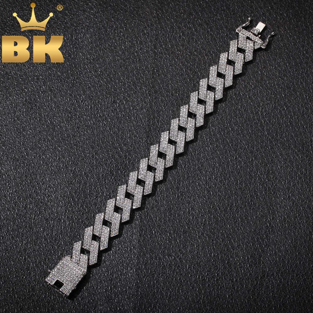 Der Bling King 20mm Miami Prong Cuban Link Armband 3 Row Full Euro aus Rhinestones 7inch 8inch Herren Hiphop Schmuck 210611