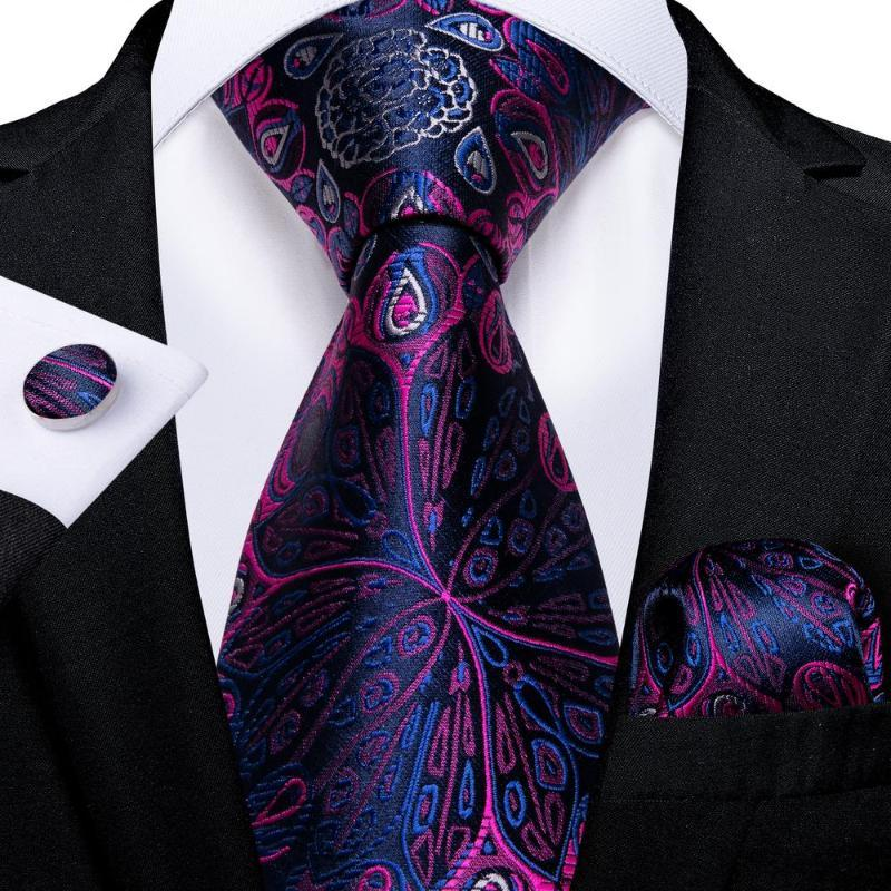 Fliege Krawatten Hi-Krawatte Lila Blumen Neuheit Design Seide Hochzeit Krawatte für Männer Hanky Manschettenknopf Mode Krawatte Set Business Party Drop