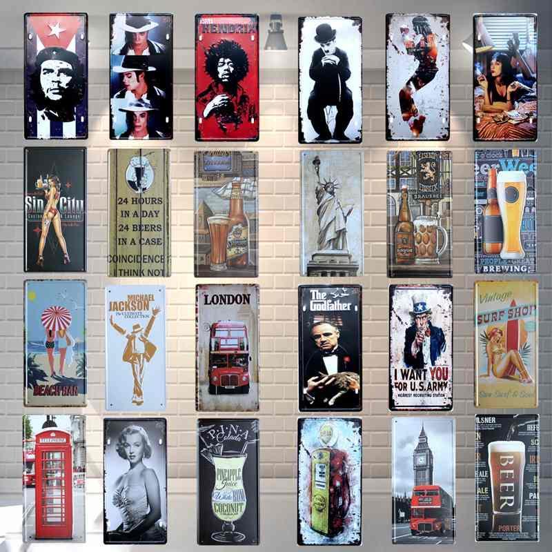 2021 drôle de cinéma classique étoiles métallique assiette bière signer vintage mur bar Pub café maison art garage décor 30x15cm