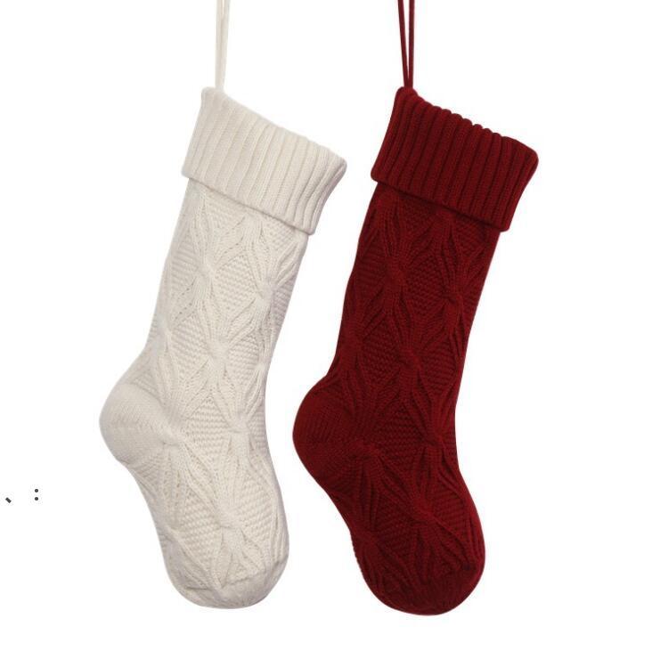 Вязание Рождественские чулки Детские конфеты подарка сумка дерево украшения камин украшения носки новогодние подарки держатель рождественских декор для дома OWA8590