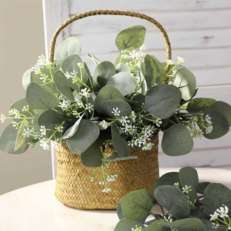 25pc 인공 식물 유칼립투스 잎 신부 꽃다발에 대 한 지점 gypsophila DIY 화환 홈 파티 웨딩 녹지 장식