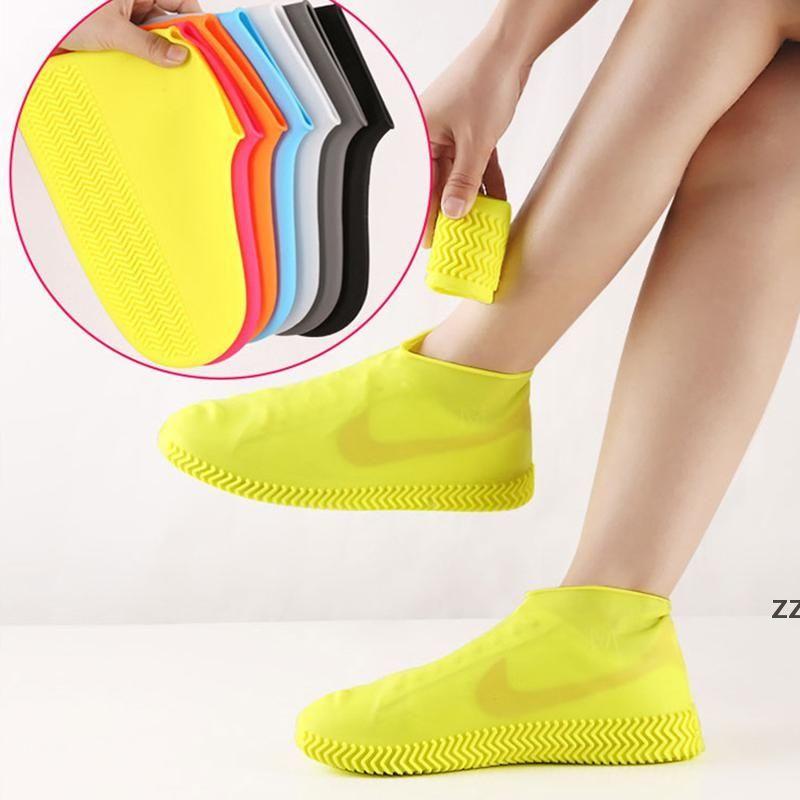 Wiederverwendbares wasserdichtes Silikon Die Schuhe abdecken Unisex Regenfeste Stiefel rutschfeste Überschuhe dicke verschleißfeste tragbare Outdoor HWD10069