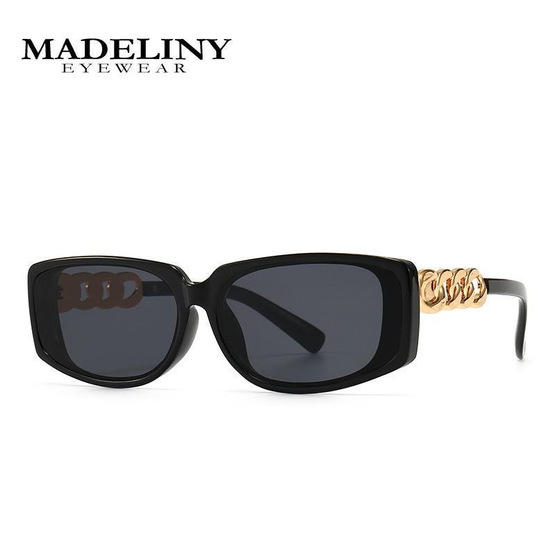 نظارات شمسية مادلين ماركة خمر مستطيل صغير المرأة الرجعية رابط سلسلة عدسة التدرج مربع النظارات الشمس الإناث uv400 ma468