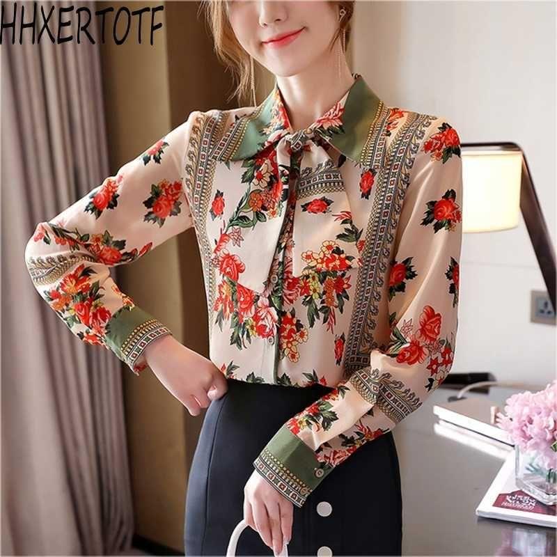 spring Elegant Floral Pattern Print Office Lady Shirt Fashion Turn-down Collar long sleeve Blouses 210531