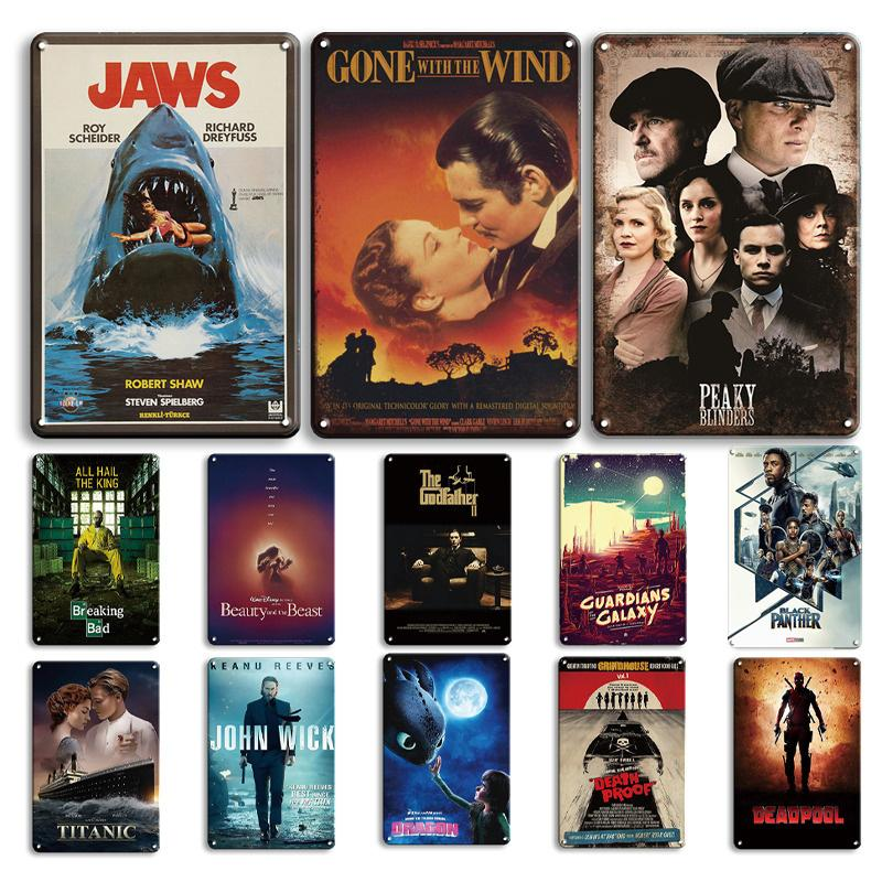 2021 Klasik Film Posteri Metal Plaka Vintage Godfather Sinemalar Teneke Işareti Retro Duvar Sticker Dekoratif Plak Shabby Chic Film Ev Dekor
