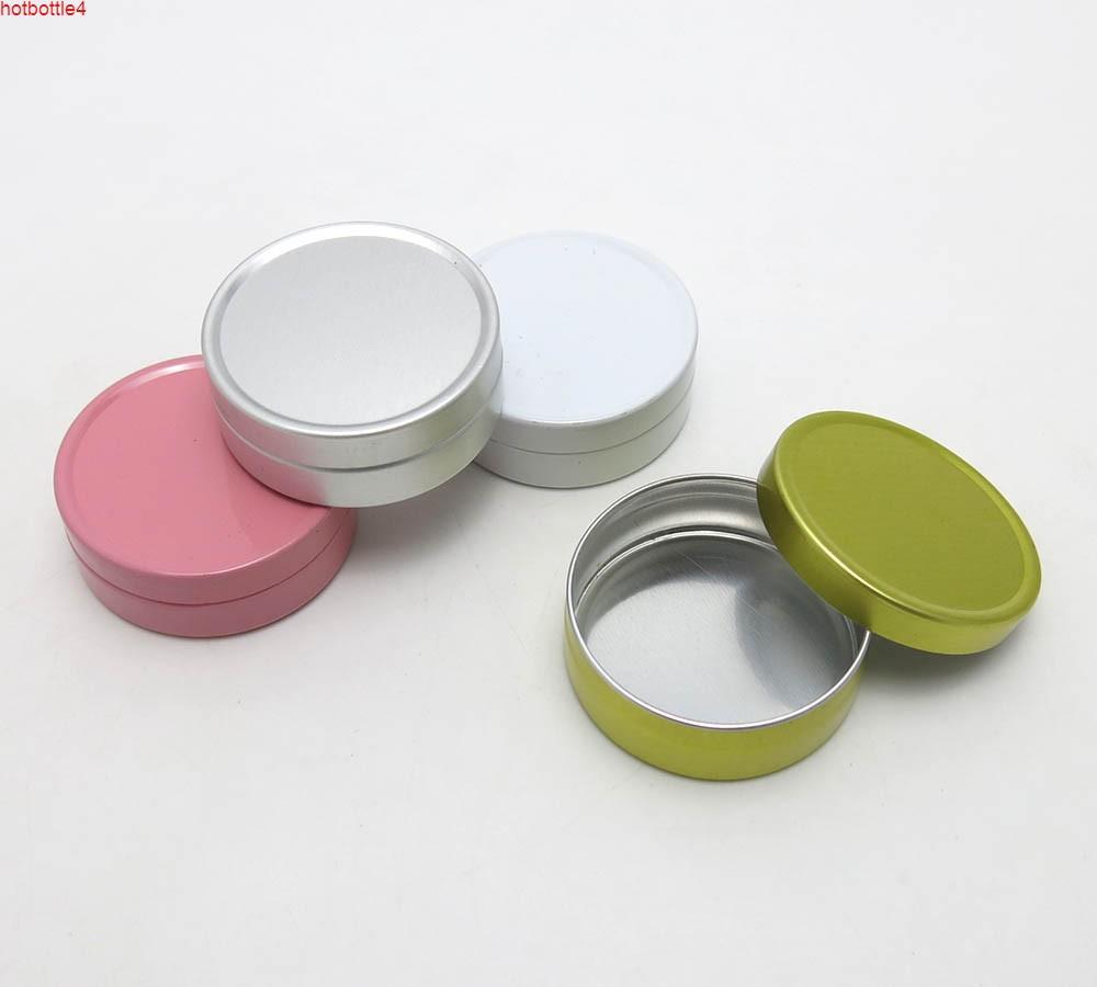 50pcs 10ml mini baume de la lèvre crème de crème métallique 10g petit aluminium étain pot en gros argent blanc or blanc pot cosmétique conteneur