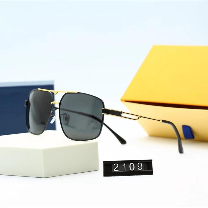Luxurys Designer Hommes Pilote Lunettes de soleil Fashion Square Eyewear Haute Qualité HD Polarized Lentilles Conduite de lunettes avec emballage 5 couleurs en gros 2109