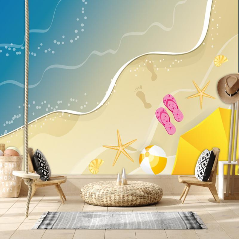 Wallpapers Cartoon Cute Custom For Kids Room Wall Papers Home Decor 3d Sea Beach Starfish Bathroom Floor Removable Mural Rolls