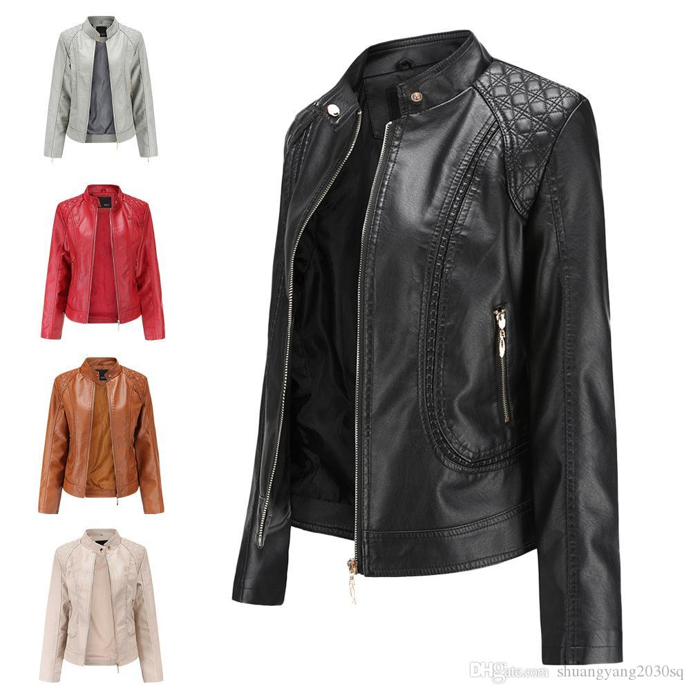 Giacca da donna in pelle primavera e autunno temperamento Plus Size Stand Collar in pelle PU Coat Et Ladies Giacche in pelle