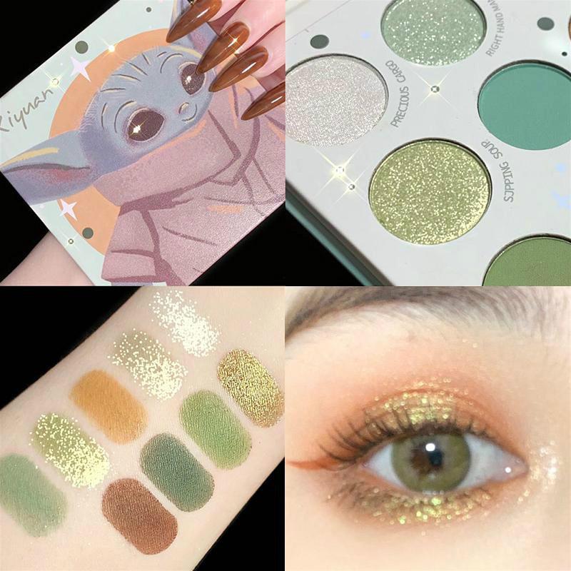جديد وصول عينيه لوحة اللؤلؤ الأخضر نمط لون لوحة بريق ماكياج تسعة اللون سطع ظلال العيون ماكياج ماكياج عينيه