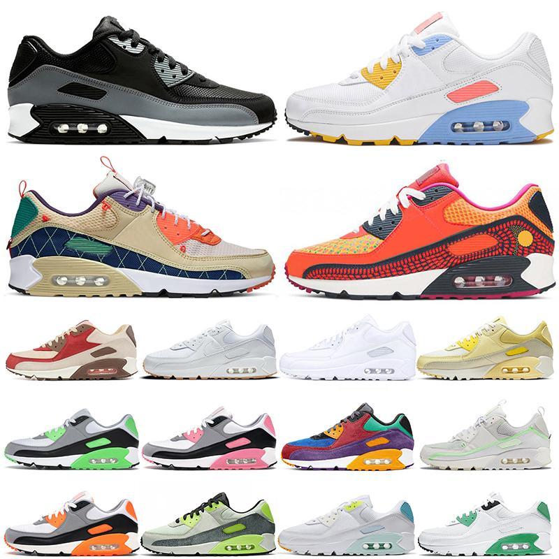 نايك الجوية ماكس 90 90s رجل إمرأة احذية الجري جديد الأبيض اللثة المحكمة الأرجواني تريل فريق الذهب المدربين العدائين الرياضة أحذية رياضية يورو 46
