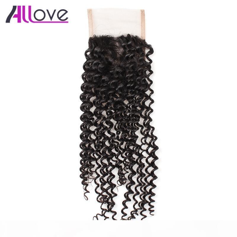 Allova 8A Peruano Virgem Cabelo Brasileiro Kinky Curly Lace Fechamento 1 PC Índico Profundamente Curly 4 * 4 Cabelo Curly Malaysiano
