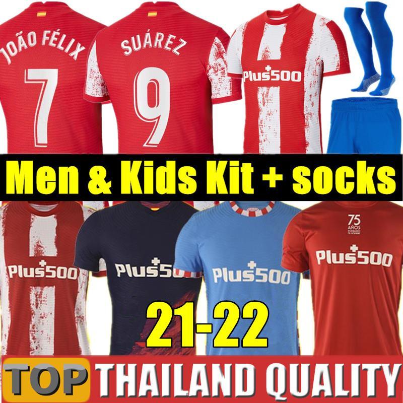 20 21 JOAO FELIX Atletico Madrid Futbol formaları 2020 2021 SAUL Camisetas SUAREZ LLORENTE CORREA Futbol gömlek seti Erkeklerin Çocuk Kiti üniforma