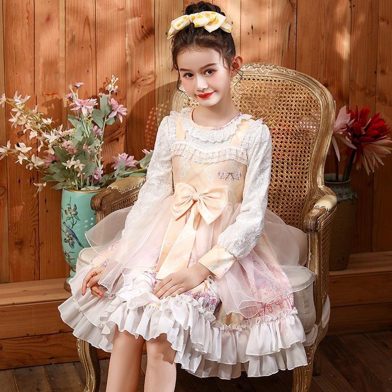 Robes de fille Fashion Bébé Filles Printemps Été À Manches longues Kawaii Sweet Lolita Robe Anniversaire Partie Princesse Vêtements Enfants Vêtements enfants