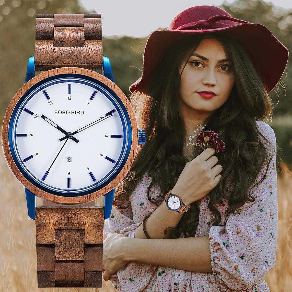 Bobo Vogel Mode Holz Damenuhr Quarz Armbanduhren Weibliche Relojes Para Anpassen Wasserdichte Drop 210603