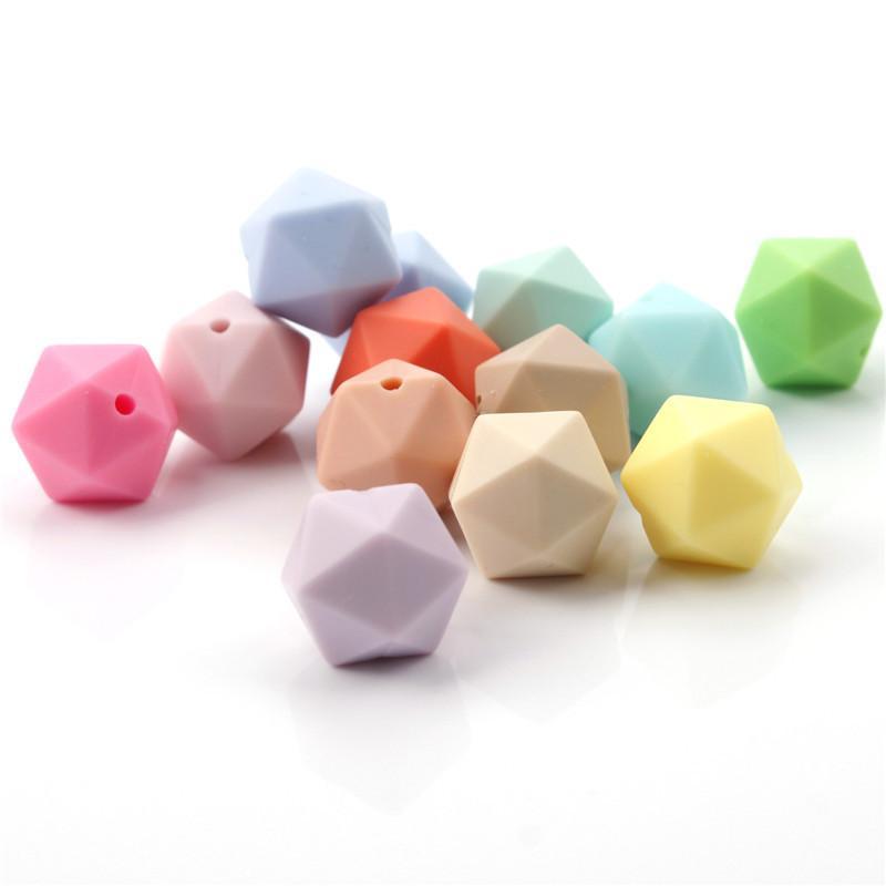 100 pcs Alimentos Grau Solicone Chewable IcoSahedron Beads 14mm para bebé Colar de Bebê Corrente de Chupeta BPA Free Teether 210311