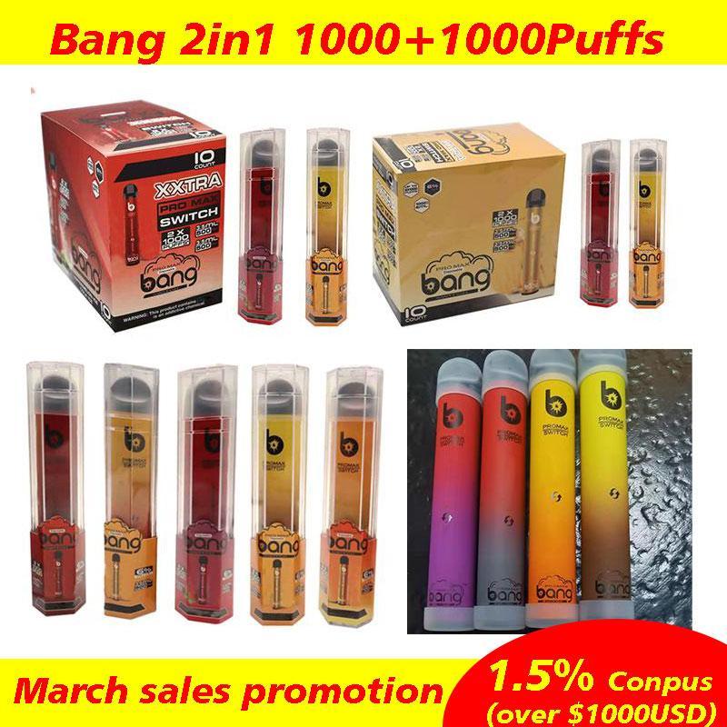 Bang XXL Pro Max Commutateur MAX MAX VAPE PEN 1000 + 1000 Puffs 2 en 1 Vapes jetables Kit de périphérique POD Local Bang XXTRA