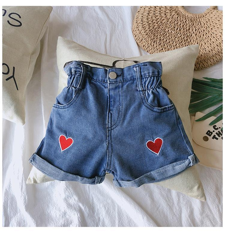 Sommer Neue Kinder Denim Shorts Kinder Hohe Taille Komfortable gerade Shorts Jeans Kinder Sweet Love Denim Hose