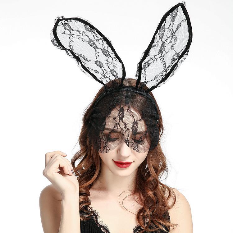 Cosplay Gesicht Auge Spitze Schleier Maske Stirnband Kaninchen Hase Lang Ohr Haarband Halloween Weihnachtsfeier Fancy Kleid Ball Masquerade Requisiten Masken