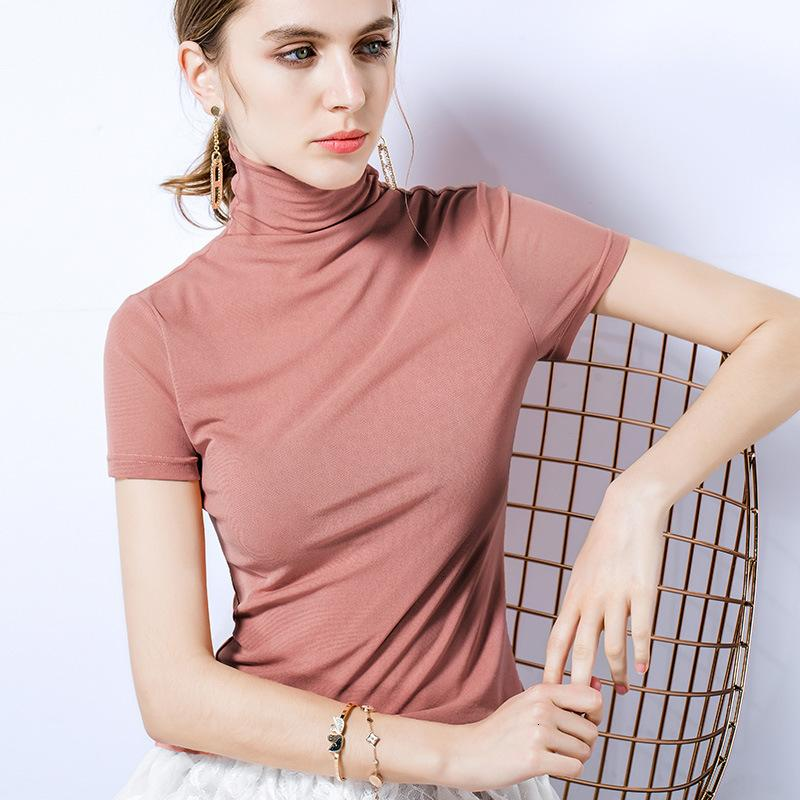 Womens Short Sleeve T-shirt Womens Turtleneck Mesh Bottoming Shirt Summer New Solid Color Tight Shirt Asian Size