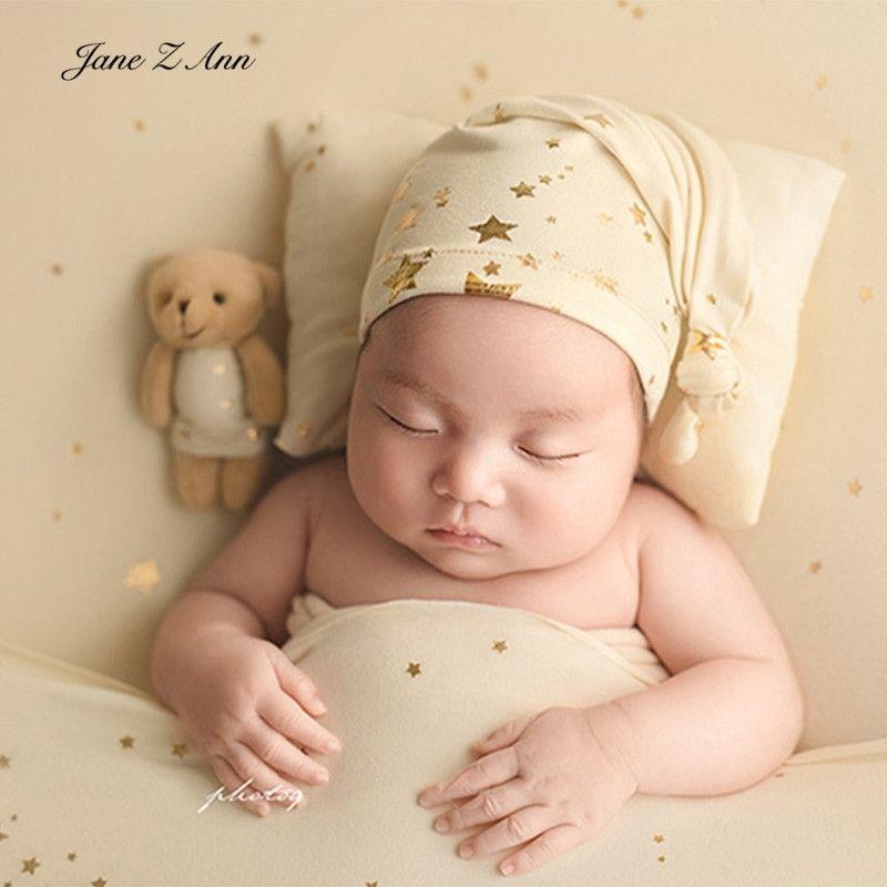 Jane Z Ann Starlight sleeping hat +pillow / bear set baby newborn photography props hot gold star not including backdrop 210315