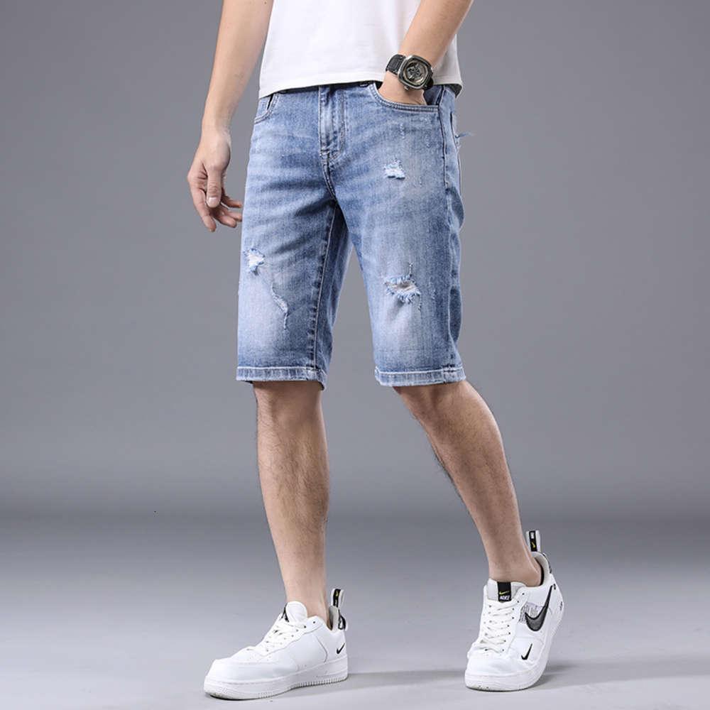 calça jeans luz de verão cor denim shorts moda moda marca buraco casual calças legal juventude versátil tendência cabris