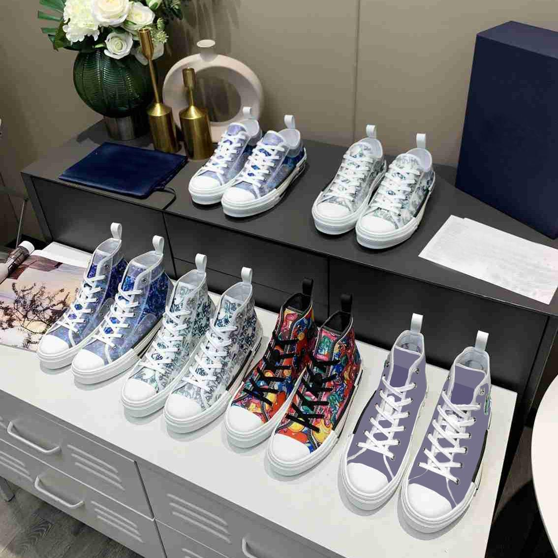 2021 클래식 캔버스 신발 한정판 애호가 인쇄 스 니 커 즈 다기능 다기능 높은 탑 캔버스 신발 원래 포장 구두 상자 크기 35-46