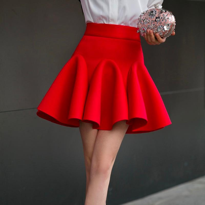 Юбки с высокой талией Plife Элегантная юбка Красный Черный Белый Мини Рыбная мода Женщины Faldas Saia 2XL Плюс Размер Дамы JUPE 0222-69