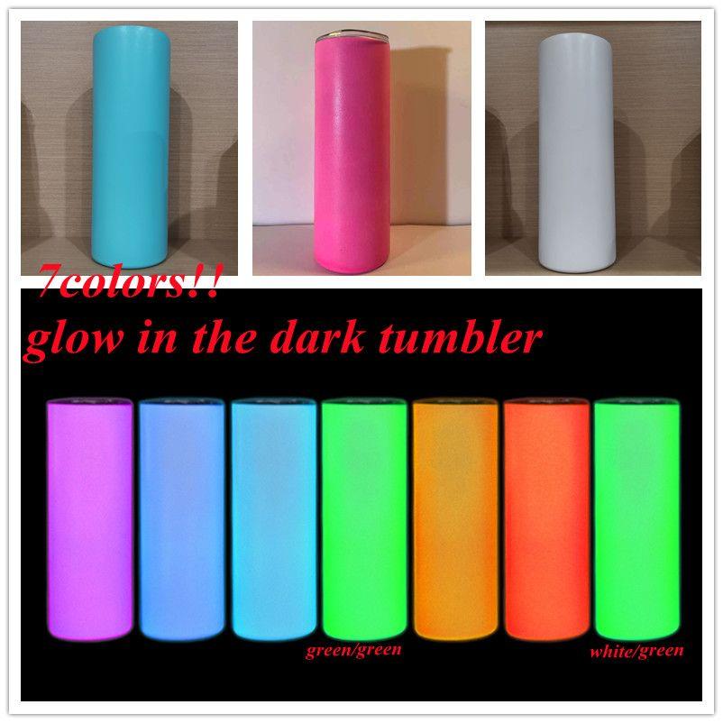 Сублимация DIY прямые тумблеры 20 унций свечения в темном тумблере со светящейся краской люминесцентной волшебной тощей чашки