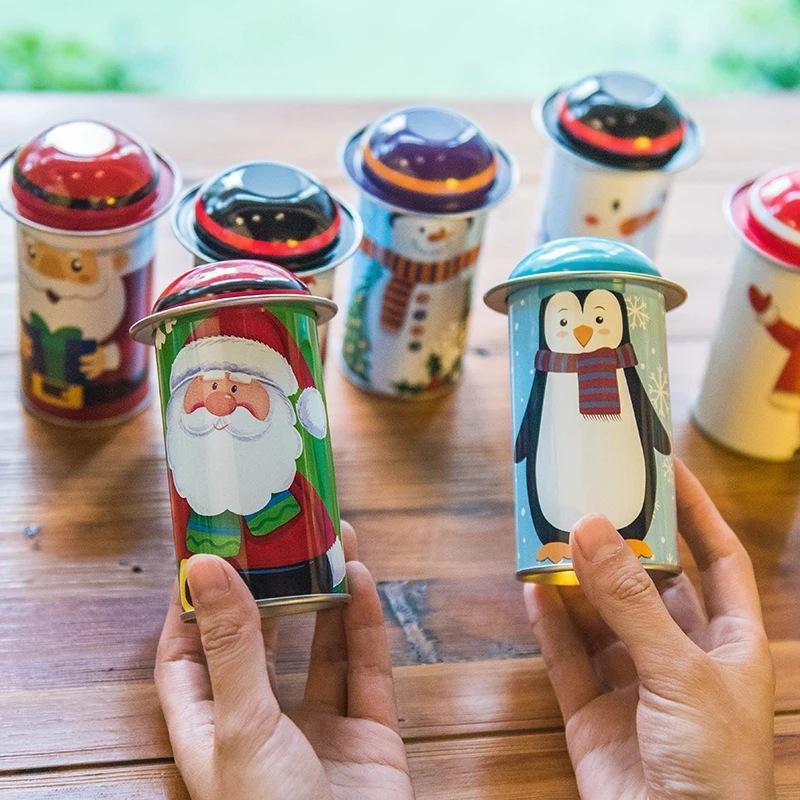 Navidad Candy Caja de lata Hierro Caramelo lindo Jarra de caramelo Santa Claus Muñeco de nieve Navidad Caja de caramelo Dibujos animados Favor Regalo Caja Navidad Ornamento DBC VT0794