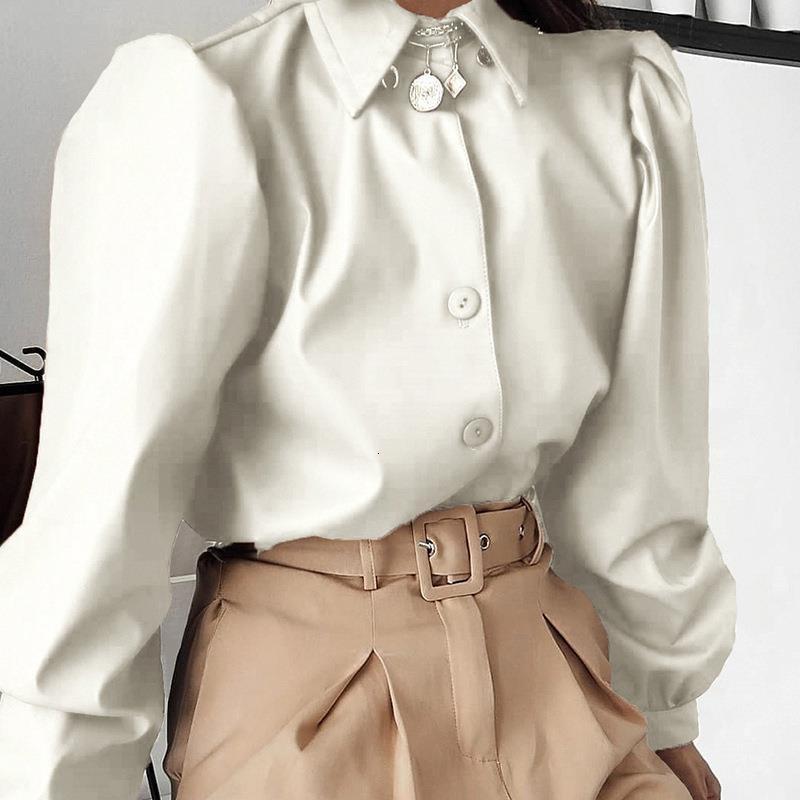 Camisa de cuero sintética Mujer Camisas para soplo largo Manga Botones elegante Vintage Otoño 2021 Caída de cuero Camisas Blusa Blusa Tops de las señoras