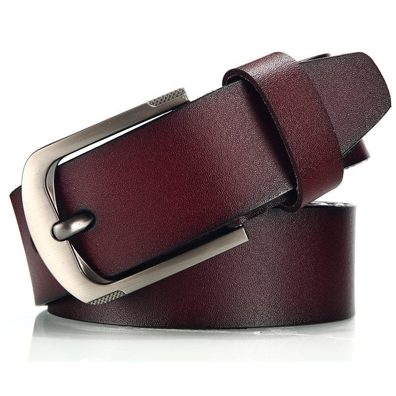 أحزمة رجل جلد طبيعي حزام تنوعا سبيكة سبيكة سبيكة دبوس مشبك البقر العلامة التجارية مصمم جينز المرأة