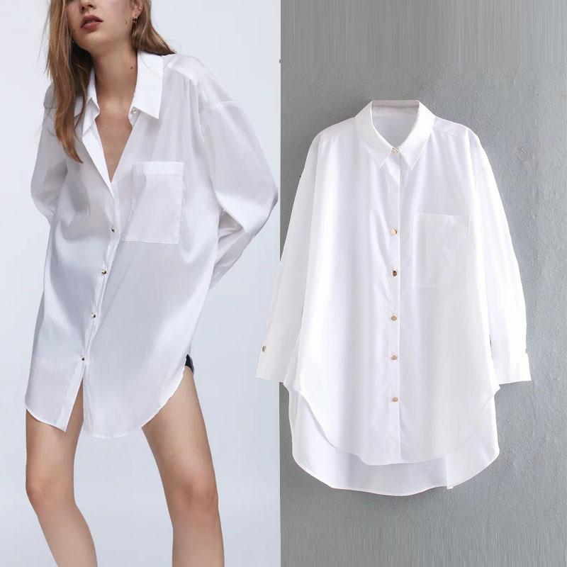 Za Oversized Blusa Bianco Bianco Pulsante Up Shirts Donne Top Summer Moda Signore Manica Lunga Big Size Donna Camicia lunga Tunica 210303
