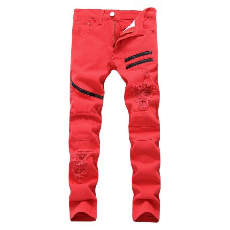 Men's Pants Zipper Casual Hole Decoration Multi-chain Fashion Long Trousers