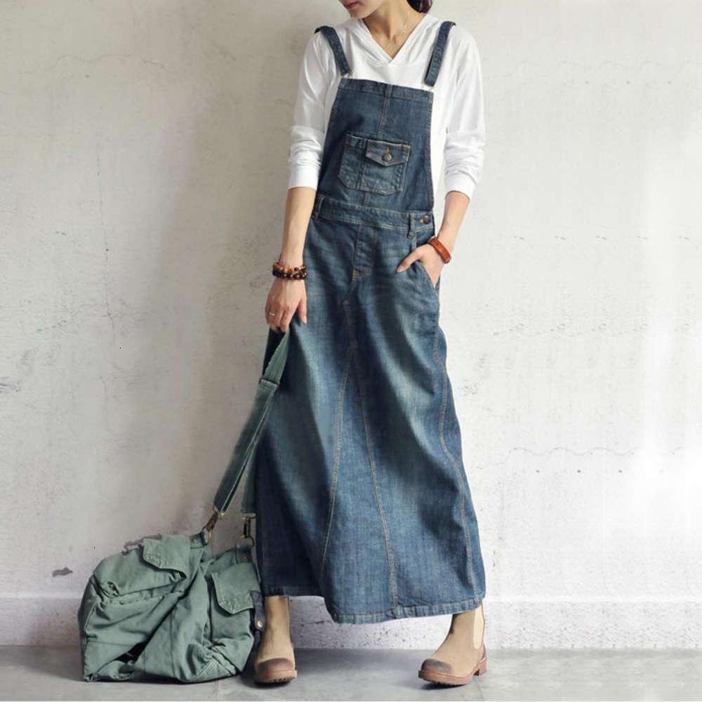 2021 Primavera Feminina Solta Fitting Skirt Comprimento Denim Denim Skirt