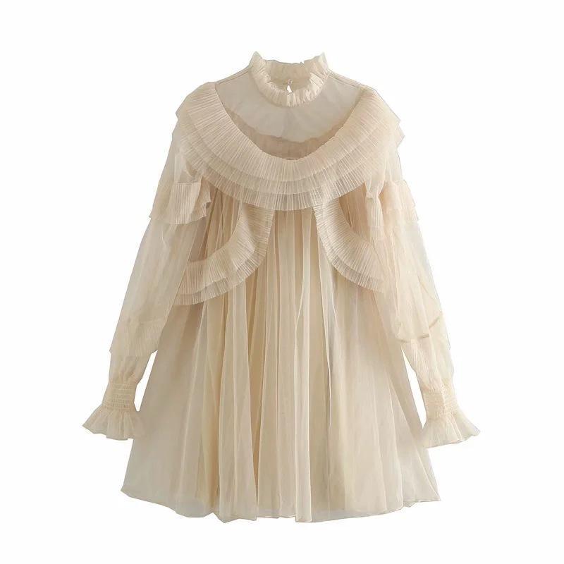 Lässige Kleider Vintage Prinzessin Kleid Ultra-feeperspektive Schicht Lace Collar Lange Lotos Blatthülse Lose Taille Gerade Kleidung für Wom