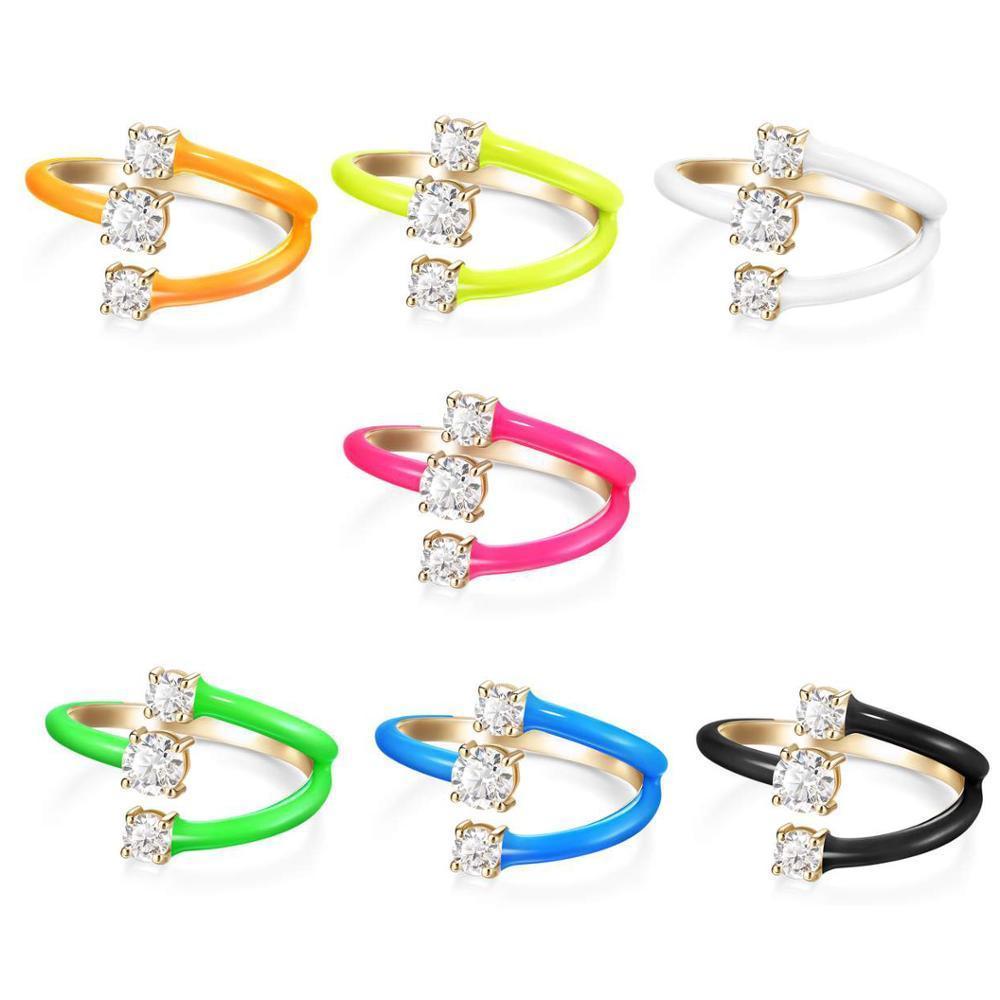 Regenbogen Mode Frauen Schmuck Süßigkeiten Neon Email Bunte Fingerring Für Frauen Öffnen Sie die Größe 210310