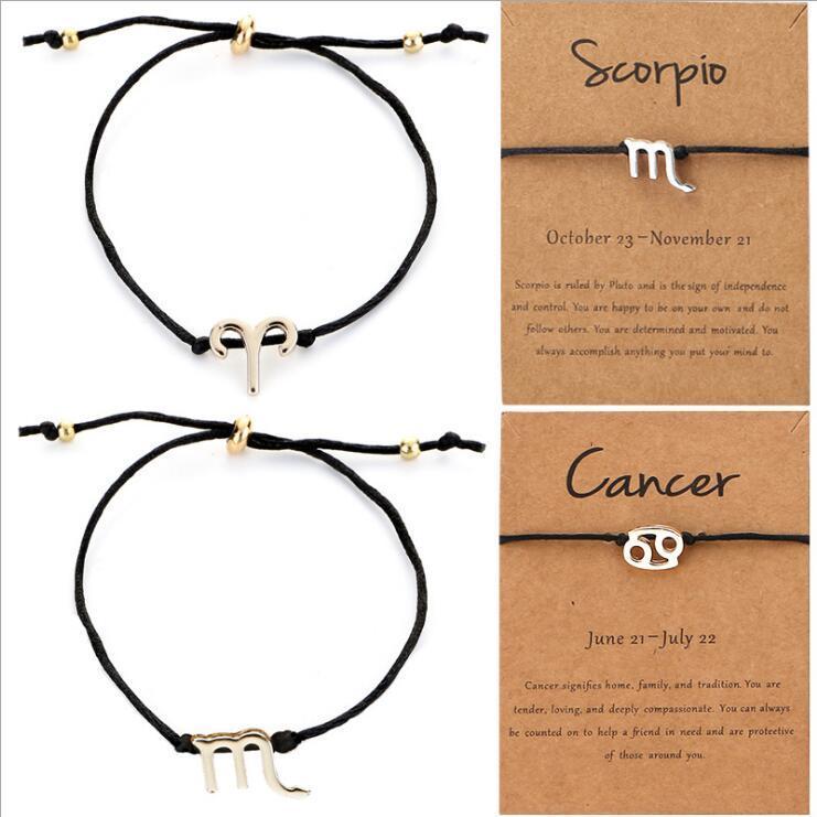 12 Constellations Bracelet Gold Silver Adjustable Zodiac Bracelet Black Rope Bracelets Birthday Gift Chain Amulet Zodiac Sign Jewelry