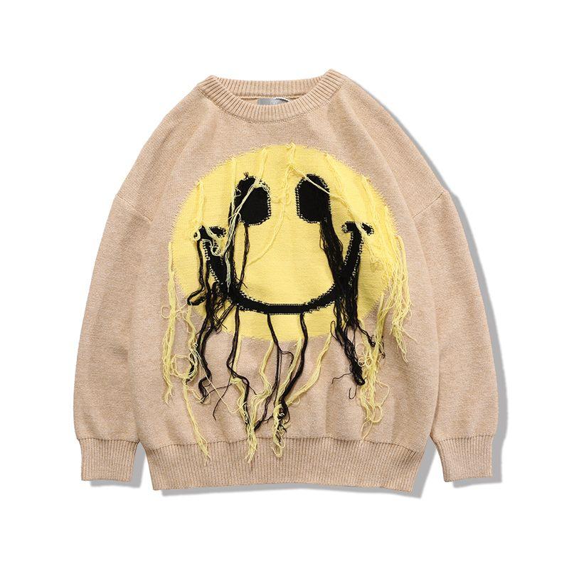 Японский кисточковый свитер Мужчины и женщины Свободные негабаритные Пуловер Повседневные свитеры Kintted High Street Одежда