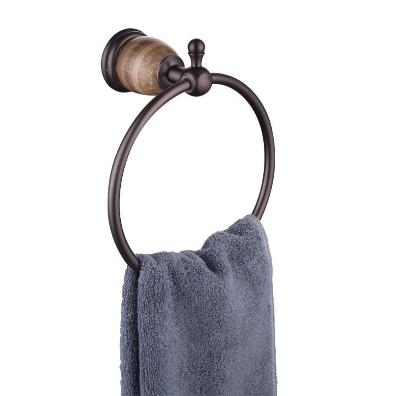 수건 반지 욕실 수건 옷걸이 홀더 단단한 황동, 벽 마운트, 브라운 / 블랙 / 화이트