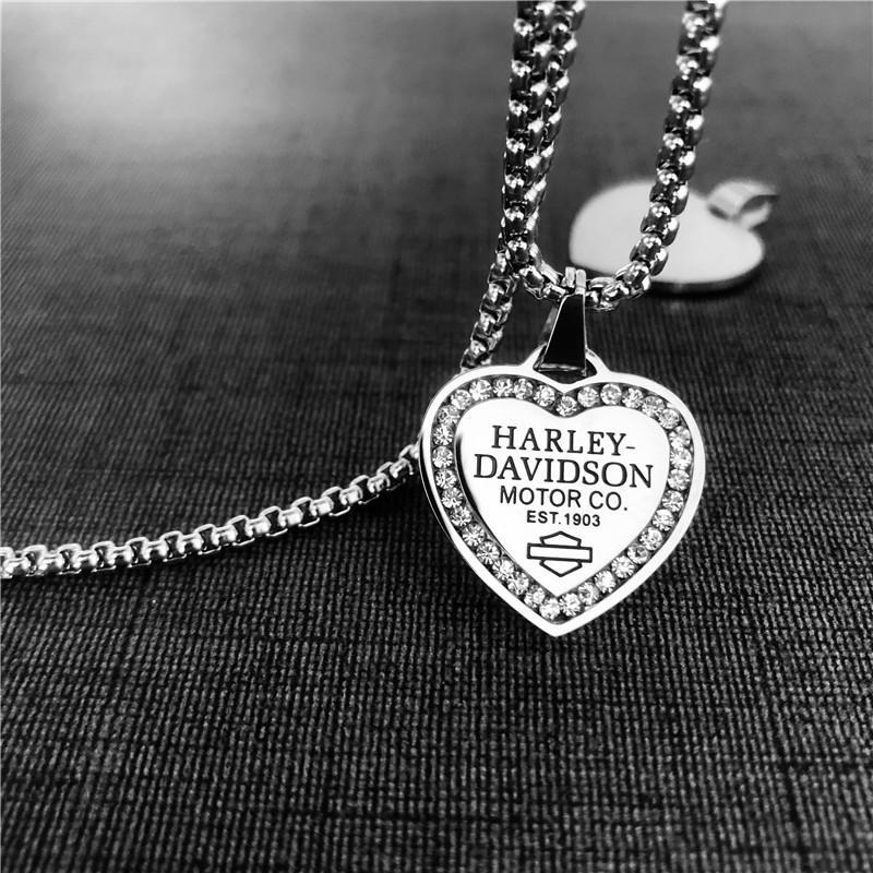 Lady colar 316L de aço inoxidável moda jóias coração cristal meninas moto pingente com corrente
