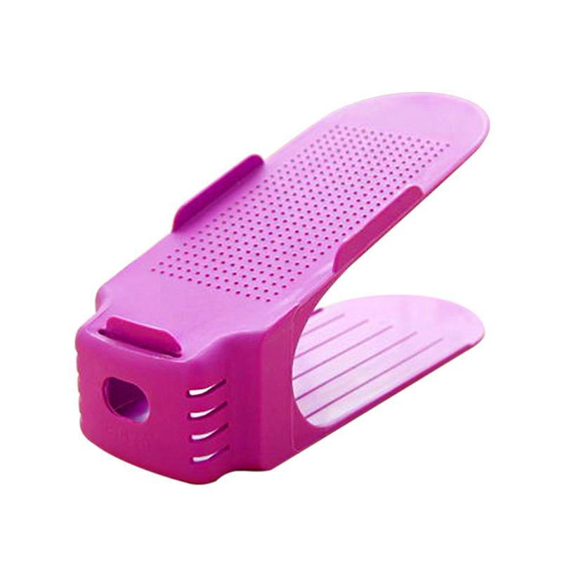 Clothing & Wardrobe Storage Home Shoes Rack Solid Color Plastic Double Adjustable Layer Cleaning Stereo Receive Hanger Saves Pace Drop