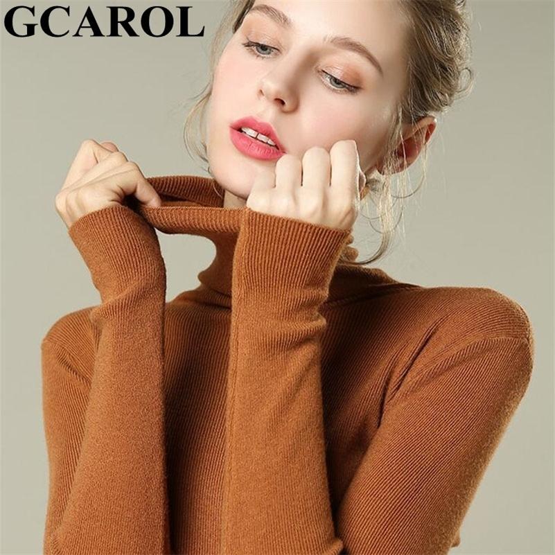 Gcarol New Women Turtleneck Slim Suéter 30% Lana Minimalista Jumper Stretch Spring Spring Fall Winter Base Knit Pullover LJ201017