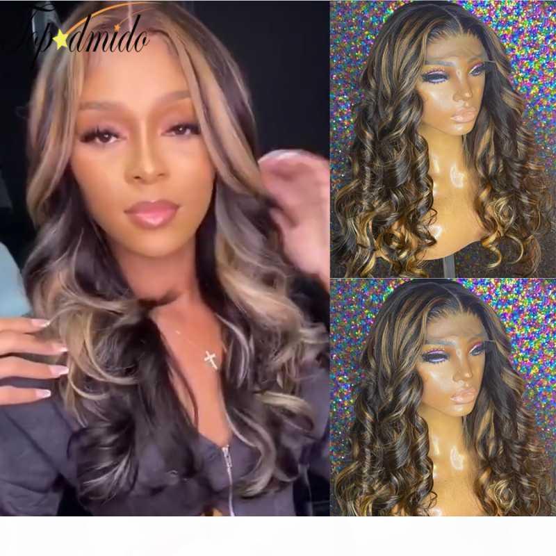 TOPODMIDO Highlight Color Hean Hair парик бразильский REMY шнурки волос передние парики Prepded Body Wave Wave для женщин 130 150 плотность