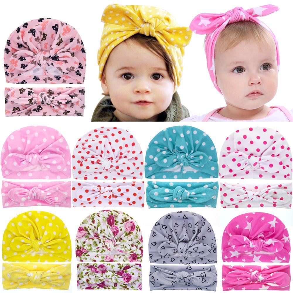 2021 Bébé fille Nouveau chapeau Beanie Bandeau Set Star Star Fleur Coton Coeur Coeur Papillon Print Turbon Grosse noeud Capuchon Capuchon Capuchon pour bébé