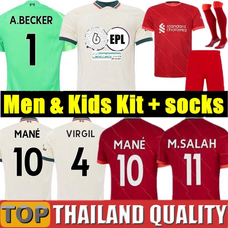 21 22 camisa de futebol Liverpool 2021 2022 LVP M. SALAH M.SALAH VIRGIL MANE FIRMINO THIAGO DIOGO JOTA J. ORIGI uniformes campeões goleiro mulheres homens + kit de crianças