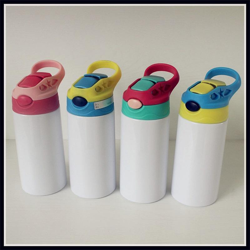 12oz Sublimação Sippy Cup 350ml Sublimação Crianças Água Bebida Garrafas De Aço Inoxidável Beber Copo Para Crianças 6 Cores Dois 383 S2